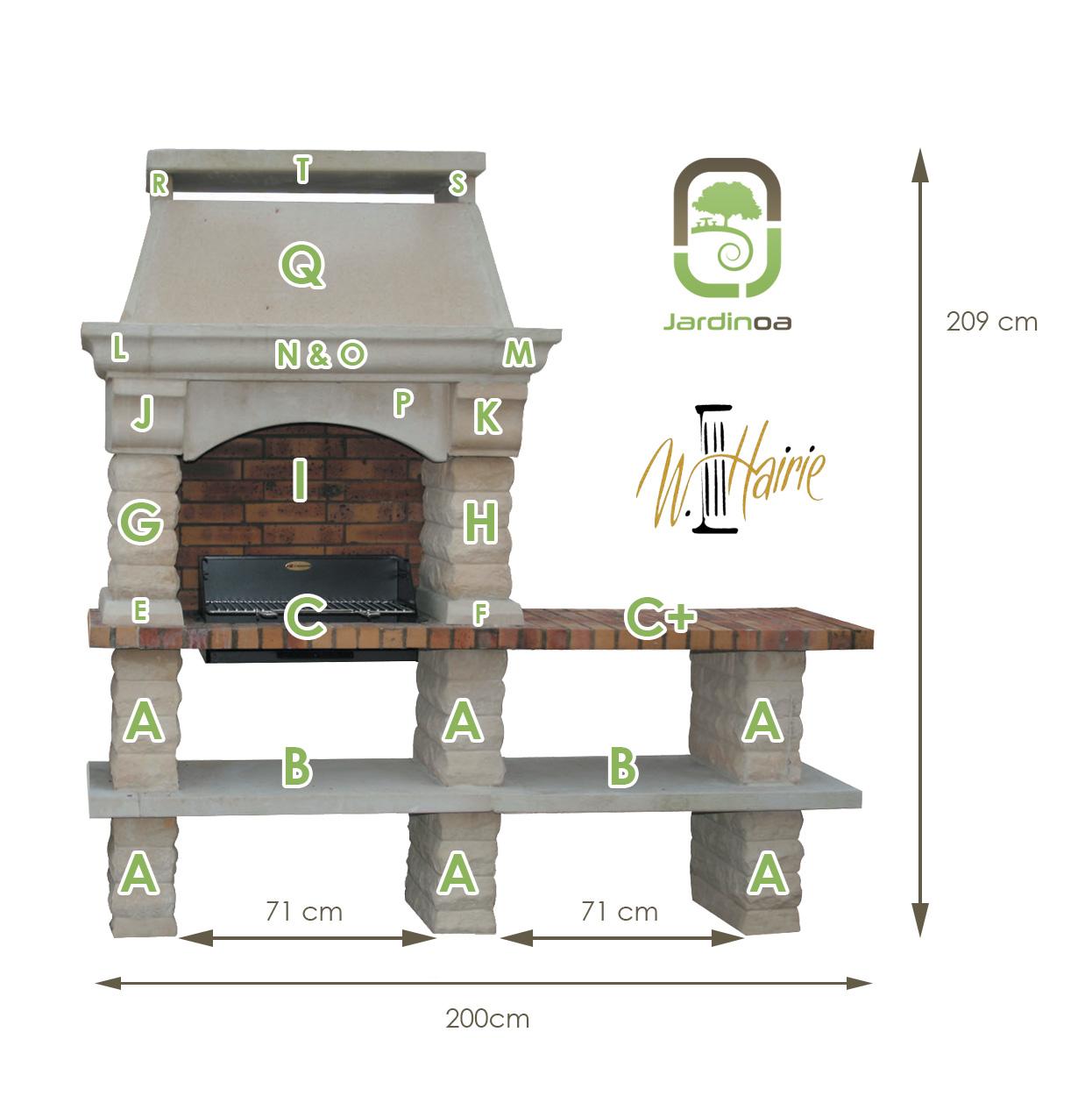 Cotes et nomenclature Barbecue Rustique a une table